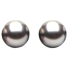 7.3 mm Silver Gray Cultured Freshwater Pearl Earring Studs Gold Plate Pushbacks