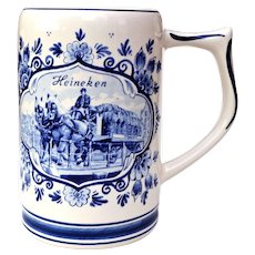 Vintage Heineken Dutch Beer Stein - Blue & White Delft