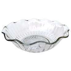 """Vintage Clear Pressed Glass 6 1/2"""" Bowl Scalloped Rim"""
