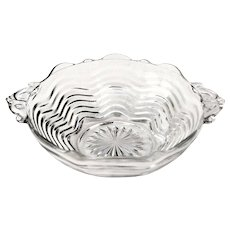 Depression Glass Handled Bowl Caribbean Clear by Duncan & Miller