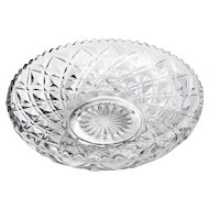 Pressed Glass Bowl Diamond Pattern 6 5/8""