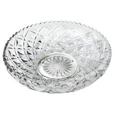"Pressed Glass Bowl Diamond Pattern 6 5/8"""