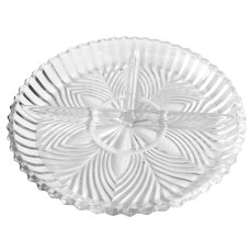 Indiana Glass Pattern #259 Clear Pressed Glass 3 Part Relish Dish