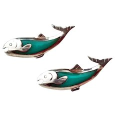 Silver & Turquoise Twin Dolphin Fish Pins