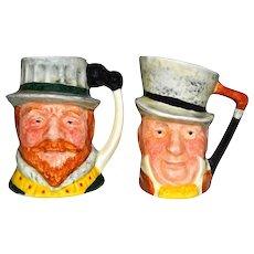 2 Lancaster Sandland Handpainted Miniature Toby Mugs Drake & Micauber