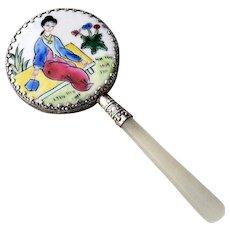 Oriental Handcrafted Hand Held Miniature Geisha Mirror