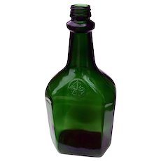 Vintage Large Green Glass Decorative Collector's Decanter Bottle