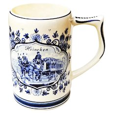 Heineken Dutch Beer Stein Tankard - Blue & White Delft