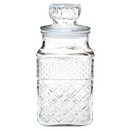 Anchor Hocking Wexford Pressed Glass Biscuit Cookie Candy Jar w/ Sealing Lid