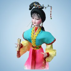 Handcrafted Oriental Art Silk Figurine Doll on a Stand