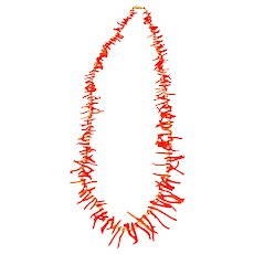 Mid-Century Coral Branch & Freshwater Pearl Necklace