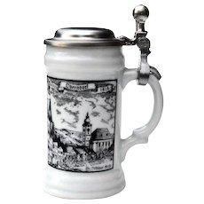 Vintage German Oberndorf Mini Stein Porcelain w/ Pewter Lid