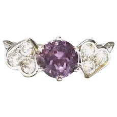 Hearts & Amethyst Ring Size 5 ¼