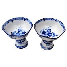 TWO Russian Gzhel Compote Bowls w/ Stems Blue & White Handcrafted Porcelain