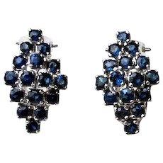 Sterling Silver Sapphire Earrings NEW Vintage