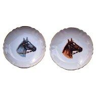 "Collector Set of 2 Porcelain Miniature Horse Plates Dishes Japan 4 1/4"" Diameter"