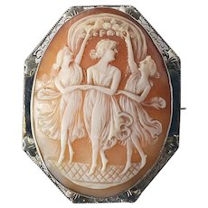 Antique Brooch Pin or Pendant Cameo Shell 14K Yellow Gold 1900-1910