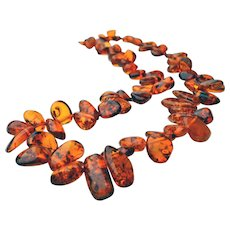 Rich Cognac Baltic Amber 26 inch Necklace w/ Inclusions