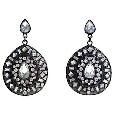 Mid Century Rhinestone Dangle Drop Pear Shaped Earrings