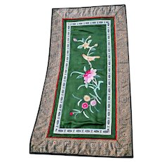 Chinese Hand Embroidered Silk Tapestry Floral & Yellow Bird