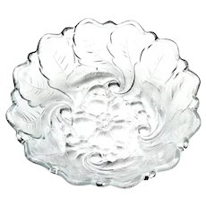 Indiana Glass Pattern 9 Wild Rose Footed 9 inch Bowl 1940s