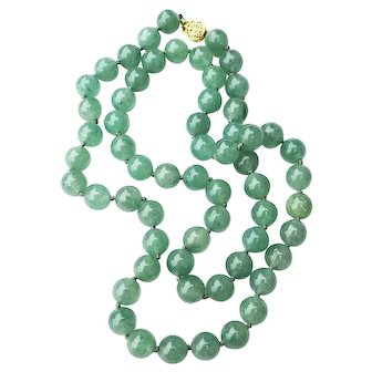 Mid-Century Nephrite Jade 27 1/2 inch Hand Knotted Necklace w/ 14K Clasp