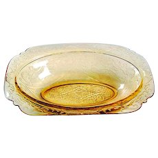 Federal Madrid Amber Depression Glass -10 inch Oval Vegetable Dish