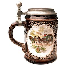 Stoneware German Stein w/ Flat Pewter Lid & Carriage Scenes