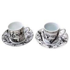 2 Italian Porcelain Espresso Cups & Saucers Music Theme