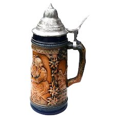 Vintage Gerz German Lidded Beer Stein - Tavern Scene