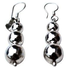 Sterling Silver Graduated Triple Ball Drop Earrings