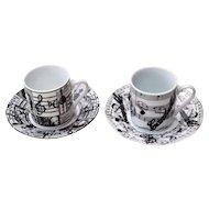2 Unique Italian Porcelain Espresso Cups & Saucers Music Theme