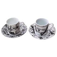 2 Unique Italian Porcelain Espresso Cups & Saucers Music Theme