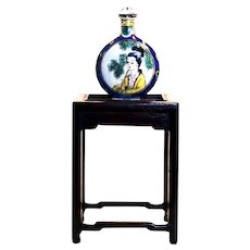 Porcelain Enamel Hand Painted Geisha Snuff Bottle w/ Rosewood Stand