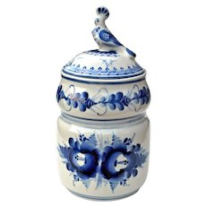 Russian Gzhel Blue & White Porcelain Designer Jar