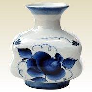 Russian Gzhel Blue & White Porcelain Vase