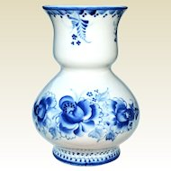 Russian Gzhel Blue & White Porcelain Designer Vase
