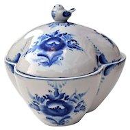 Russian Gzhel Blue & White Porcelain Designer Covered Bowl w/ Bird