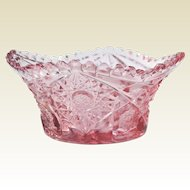 Vintage L.E. Smith Pink Pressed Glass Bowl 1960s
