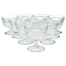 10 Anchor Hocking Wexford Pressed Glass Sherbert Dessert Dishes