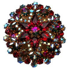 Red Rhinestone Statement Brooch Vintage 1940s