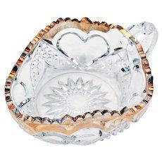 Antique Tarentum Heart w/ Thumbprint Gold Trim Finger Loop Nappy Dish