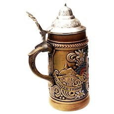 Vintage Gerz German Beer Stein w/ Pewter Lid