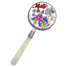 Oriental Handcrafted Floral Porcelain Hand Held Mirror