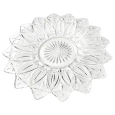Vintage Federal Glass Co Petal Pattern 11 inch Glass Sandwich Serving Tray Platter