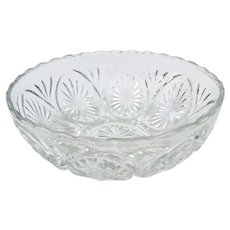 Vintage Clear Pressed Glass 8 inch Bowl