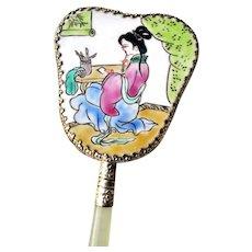 Oriental Geisha Handcrafted Porcelain Hand Held Mirror 6 1/2 inches