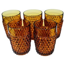 5 Indiana Glass Diamond Point Amber Tumblers