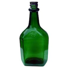 Vintage Large Green Glass Decorative Collector's Decanter Bottle