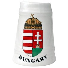 Miniature Porcelain Beer Mug Stein Shot Glass Hungary Crest